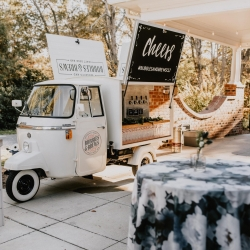 Bubbles and Brews brought their custom beer car for a fall wedding at Ritchie Hill