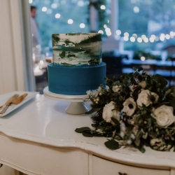 Wentworth and Fenn created a stunning watercolor cake for a fall wedding at Ritchie Hill