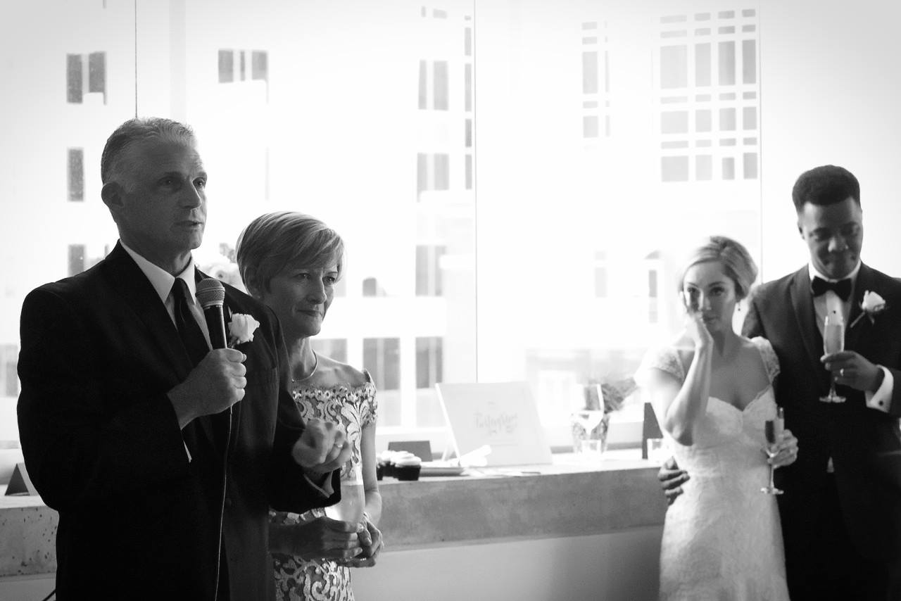 Father of the Bride giving a toast at his daughter's wedding.