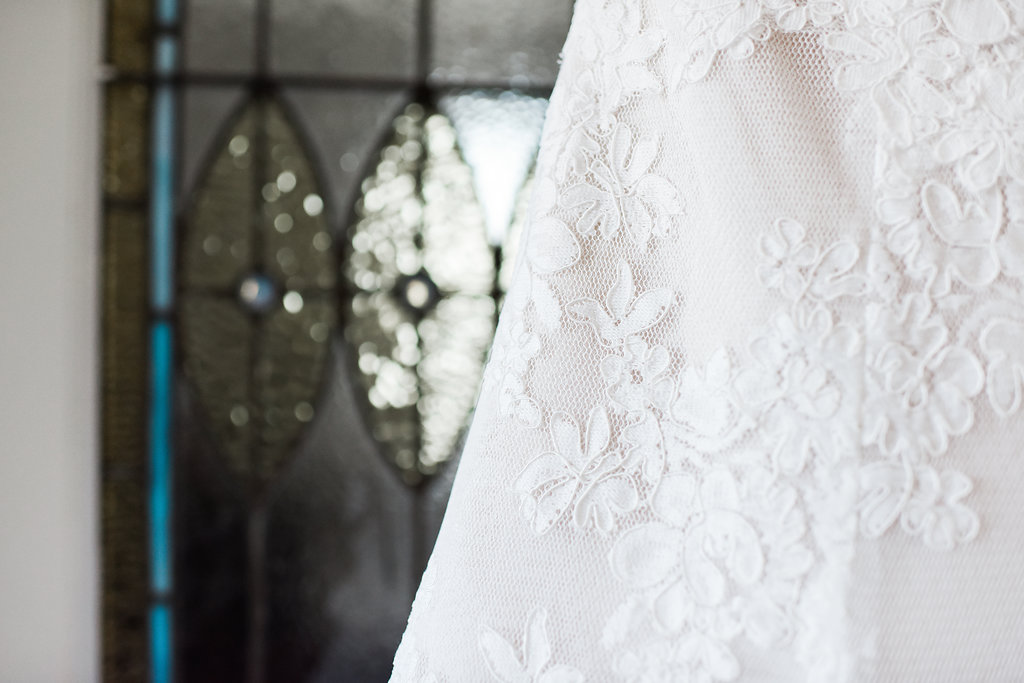 lace details on a bride's dress