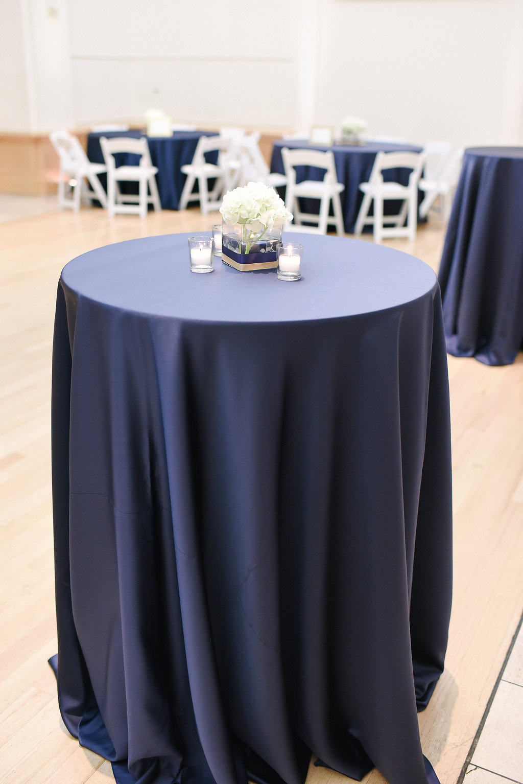 Navy wedding linens at the Levine Museum of the New South wedding.