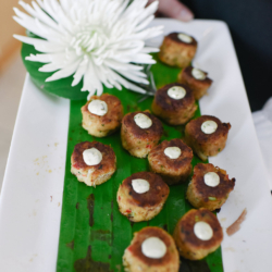 crab cakes by Delectables by Holly passed appetizers at a wedding in Charlotte, North Carolina
