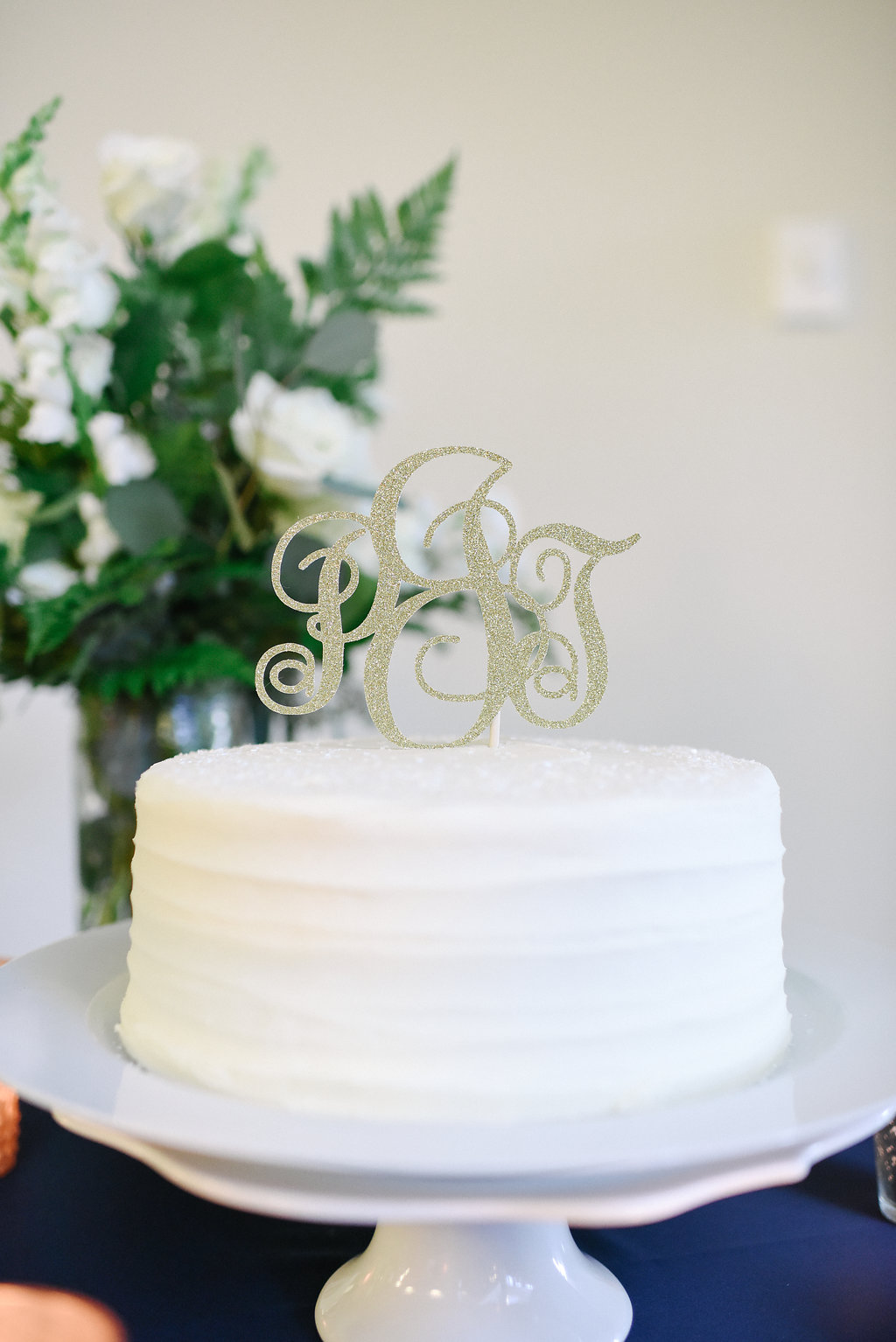 Monogram gold sparkly cake topper