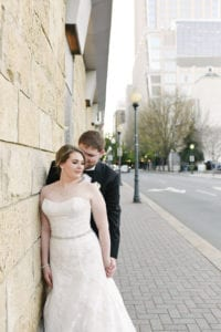 Modern wedding, bride and groom on the streets of Charlotte, urban setting captured by Catrina Earls Photography and coordination by Magnificent Moments Weddings