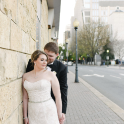 Bride and groom portraits in uptown Charlotte