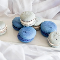French blue macaroons by Sky's the Limit Bridal Sweets