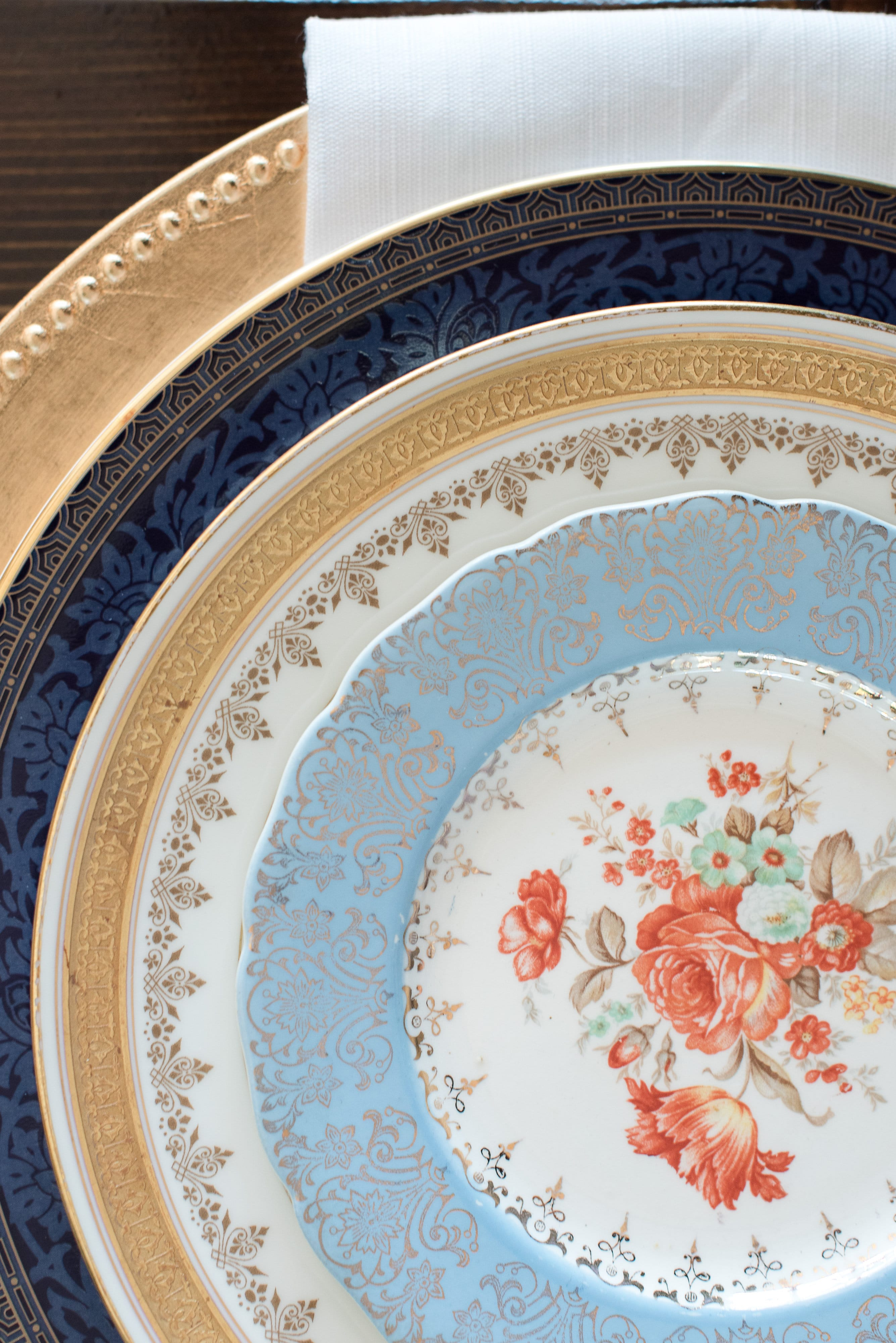 Amazing detail in vintage dishes are perfect for a French Blue styled shoot designed by Magnificent Moments Weddings