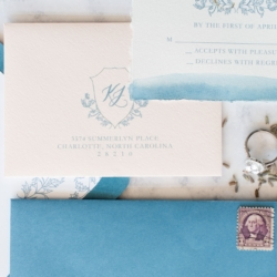 Detail shot of amazing french blue invitations by Ocean and Coral Creative