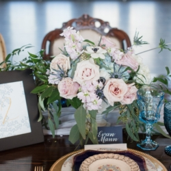 Amazing tablescape for a French Blue wedding with vintage blue glasses from Evermore Events