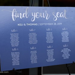 Custom table chart showed guests where to sit for a wedding reception coordinated by Magnificent Moments Weddings