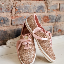 Sparkle sneakers for the bride will be a great option for her dancefloor during her summer wedding captured by Critsey Rowe Photography