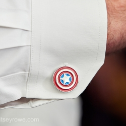Captain America cuff links are the perfect accessory for a summer groom at The Mint