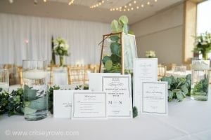 Critsey Rowe Photography captures a simple invitation suite of whites and grays for a summer wedding at The Mint