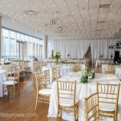 White draping, linens, and market lights from Party Reflections were the perfect touches to an uptown wedding at The Mint