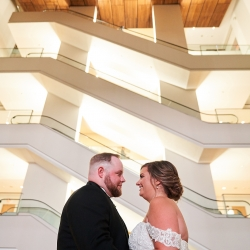 The Modern architecture of the Mint Uptown was the perfect backdrop for Critsey Rowe Photography to capture her bride and groom