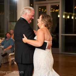 Bride shares a dance with her father to music provided by Bounce Bound during a summer wedding reception at The Mint Uptown