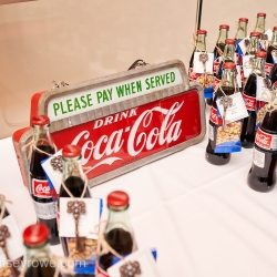 Classic Coke and peanuts were a light night treat and favor for a summer wedding captured by Critsey Rowe Photography