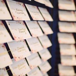 Guest cards displayed before a garden reception at the Duke Mansion captured by Crystal Stokes Photography