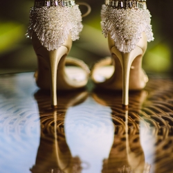 Crystal Stokes Photography captures a detail shot of a brides shoes for a wedding at The Duke Mansion coordinated by Magnificent Moments Weddings