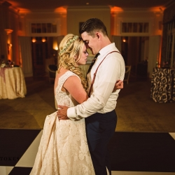 Bride and groom share a private last dance to music by Split Second Sound after their stunning reception at The Duke Mansion