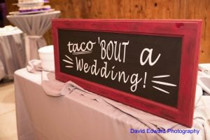 Fun taco bar by Family Catering for a spring wedding reception at The Diary Barn captured by David Edward Photography