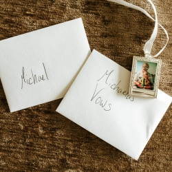 Love notes and vows prepared by the couple are shot by David Mendoza III Photography for a fall wedding at Morning Glory Farms