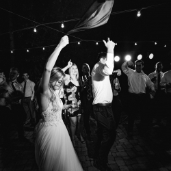 Carolina DJ Professionals created a party scene at a fall wedding at Morning Glory Farms
