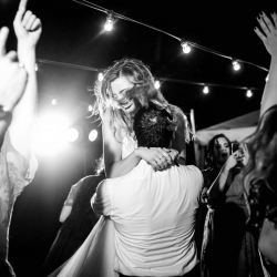 Bride and groom dance to music by Carolina DJ Professionals during their fall wedding at Morning Glory Farms