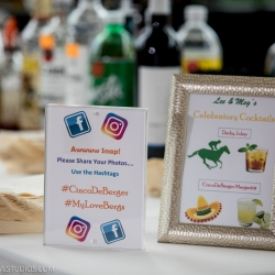 Bride and groom created signature cocktails for their cinco de mayo wedding at the Mint Museum Uptown