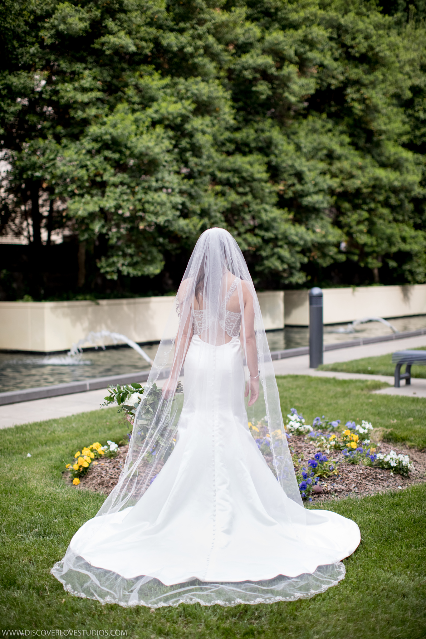 Stunning detail shot of bridal gown captured by Discover Love Studios before wedding at the Mint Museum Uptown