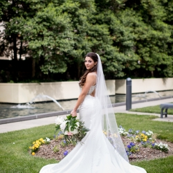 Stunning bridal portrait captured by Discovery Love Studios before wedding ceremony at the Mint Museum Uptown