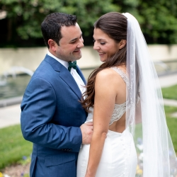 Bride and groom first look before wedding ceremony captured by Discover Love Studios