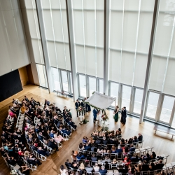 Ariel view of ceremony space at the Mint Museum Uptown