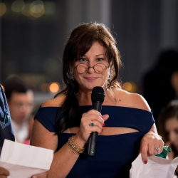 Mother of the groom toasts the newly wed couple at their Mint Museum Uptown wedding