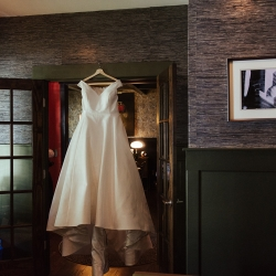 Bridal gown featured in the brides home during a fall wedding in Charlotte, North Carolina