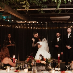 Elli McGuire Photography captures a first dance between a bride and groom during their fall wedding at Savona Mills in Charlotte