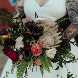 Detail shot of unique bridal bouquet created by Narcisse Greenway Designs