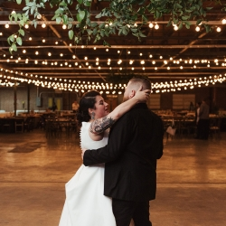 Bride and groom share a private last dance captured by Elli McGuire Photography during their fall Charlotte wedding