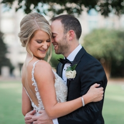 Bride and groom share a sweet moment before their wedding ceremony captured by Erin Kranz Photography