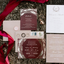Invitation suite for a fall wedding at Jump Off Rock in Asheville, North Carolina