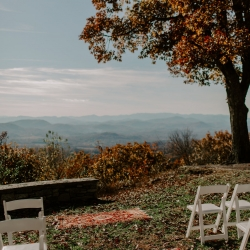 Jump Off Rock provides a stunning backdrop for a fall wedding ceremony in Asheville, North Carolina