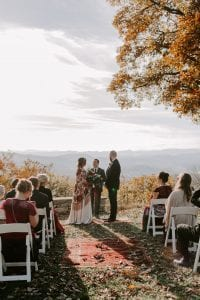 A mountain ceremony in Asheville, North Carolina has the stunning mountain range for this breathtaking alter