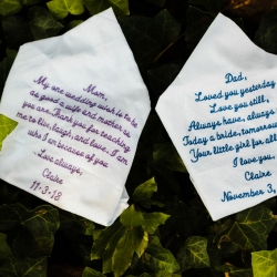 Custom handkerchiefs serve as sweet Father of the Bride and Mother of the Bride gifts during a fall wedding at Catawba Brewery