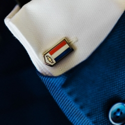Groom shows off custom cuff links during his Charlotte wedding captured by Gandee Photogrpahy