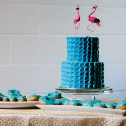 Suarez bakery creates a eye popping teal cake for a fun wedding at Catawba Brewery
