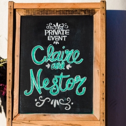 Custom sign show off bride and groom during their wedding at Catawba Brewery