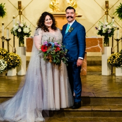 Gandee Photography captures a bride and groom after their wedding ceremony at St Gabriel's Catholic Church