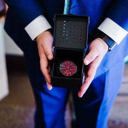 Gandee Photography captures a detail shot of grooms custom watch for his Charlotte wedding