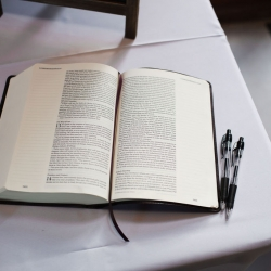 Bible served as a sweet guest book for a couple's winter wedding at The Diary Barn