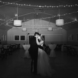 Bride and groom share a private last dance during their winter wedding at The Diary Barn